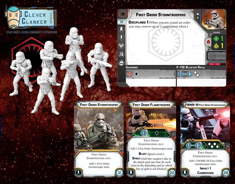 Star Wars Legion Stormtroopers set of 7 miniatures with cards
